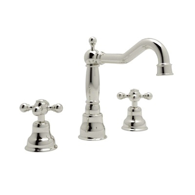 Rohl® AC107X-PN-2 Country Bath Arcana Widespread Lavatory Faucet, 1.2 gpm, 7-1/2 in H Spout, 8 to 10 in Center, Polished Nickel, 2 Handles, Pop-Up Drain