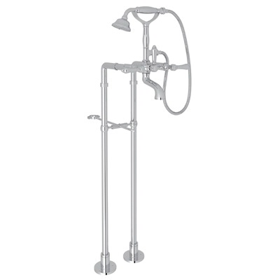 Rohl® AKIT1401LM-APC Country Bath Viaggio/Acqui Exposed Tub Set, 10 gpm, 5-29/32 in Center, Polished Chrome, 2 Handles, Hand Shower Yes/No: Yes