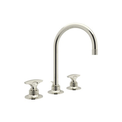 Rohl® MB2019DM-PN-2 Michael Berman Graceline™ Widespread Lavatory Faucet, 1.2 gpm, 6-1/4 in H Spout, 8 in Center, Polished Nickel, 2 Handles, Pop-Up Drain