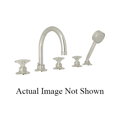 Rohl® MB2050LM-PN Michael Berman Graceline™ Tub Filler, 10 to 12 gpm, 8 in Center, Polished Nickel, 3 Handles, Hand Shower Yes/No: Yes