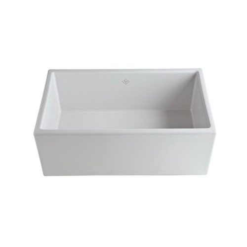 Rohl® MS3018-WH Shaws Classic Shaker Modern Apron Front Kitchen Sink, Rectangle, 30 in W x 18 in D x 11-3/16 in H, Drop-in Mount, Fireclay, White
