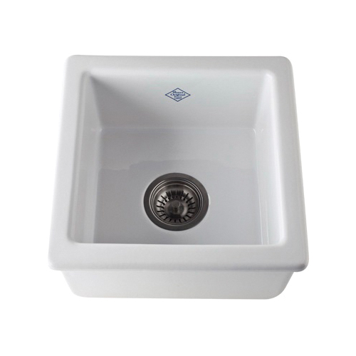 Rohl® RC1515-PCT Shaws Original Bar/Food Prep Sink, Square, 15 in W x 15 in D x 7-1/2 in H, Drop-In/Under Mount, Fireclay, Parchment