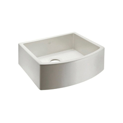 Rohl® RC2321-PCT Shaws Classic Waterside Bowed Apron Front Kitchen Sink, Rectangle, 20-7/8 in W x 23-1/2 in D x 8-5/8 in H, Fireclay, Parchment