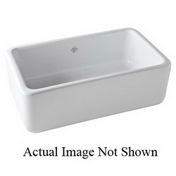 Rohl® RC3618WH Apron Front Kitchen Sink, Rectangular, 36 in W x 18 in D x 10 in H, Fireclay, White