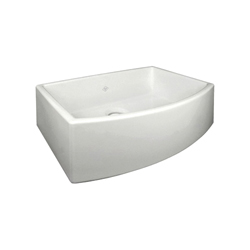 Rohl® RC3021-PCT Shaws Classic Waterside Bowed Apron Front Kitchen Sink, Rectangle, 29-7/8 in W x 20-7/8 in D x 10-1/32 in H, Fireclay, Parchment