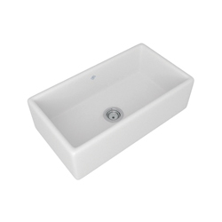 Rohl® RC3318-WH Shaws Original Lancaster Apron Front Kitchen Sink, Rectangle, 33 in W x 18 in D x 10 in H, Drop-In/Under Mount, Fireclay, White