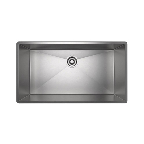 Rohl® RSS3016-SB Kitchen Sink, Rectangular, 31-1/2 in W x 17-1/2 in D x 10 in H, Under Mount, Stainless Steel, Brushed Stainless Steel
