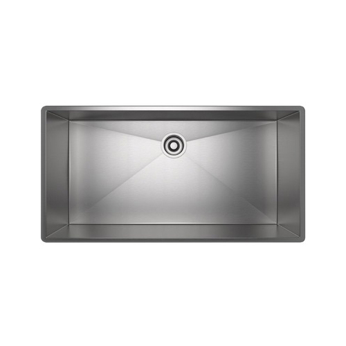 Rohl® RSS3618-SB Kitchen Sink, Rectangular, 37-1/2 in W x 19-1/2 in D x 10 in H, Under Mount, Stainless Steel, Brushed Stainless Steel