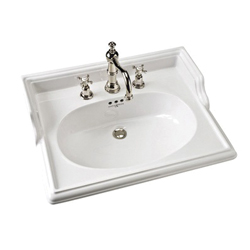 Rohl® U.2863-WH Perrin and Rowe® Basin, Rectangular, 8 in Faucet Hole Spacing, 11 in H x 25 in W x 19-1/2 in D, Drop-In Mount, Vitreous China, White