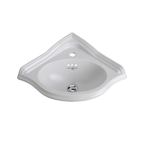 Rohl® U.2925-WH Perrin and Rowe® Corner Basin, 10 in H x 23 in W x 17-1/4 in D, Wall Mount, Vitreous China, White