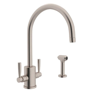 Rohl® U.4312LS-STN Perrin & Rowe® Contemporary Round Body Kitchen Faucet With Side Spray, 1.8 gpm, Satin Nickel, 2 Handles