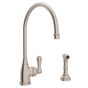Rohl® U.4702-STN-2 Perrin & Rowe® Kitchen Faucet With Side Spray, 1.8 gpm, Satin Nickel, 1 Handle