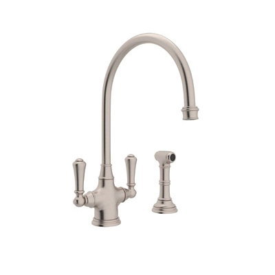 Rohl® U.4710-STN-2 Perrin & Rowe® Kitchen Mixer With Side Spray, 1.8 gpm, Satin Nickel, 2 Handles