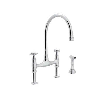 Rohl® U.4718X-APC-2 Perrin & Rowe® Bridge Kitchen Faucet With Side Spray, 1.8 gpm, 7-7/8 in Center, 2 Handles, Polished Chrome