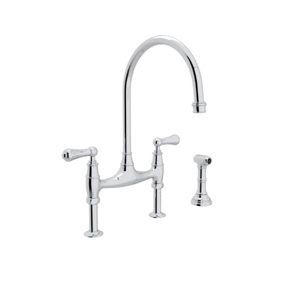 Rohl® U.4719L-APC-2 Perrin & Rowe® Bridge Kitchen Faucet With Side Spray, 1.8 gpm, 7-7/8 in Center, 2 Handles, Polished Chrome