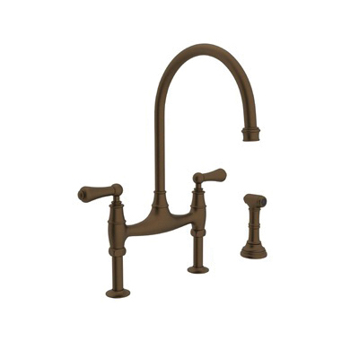 Rohl® U.4719L-EB-2 Perrin & Rowe® Bridge Kitchen Faucet With Side Spray, 1.8 gpm, 7-7/8 in Center, 2 Handles, English Bronze