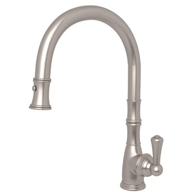 Rohl® U.4744-STN-2 Perrin and Rowe® Traditional Pull-Down Kitchen Faucet, 1.8 gpm, 1 Faucet Hole, Satin Nickel, 1 Handle