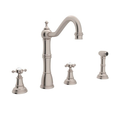 Rohl® U.4775X-STN-2 Perrin & Rowe® Kitchen Faucet With Side Spray, 1.8 gpm, 6 to 16 in Center, Satin Nickel, 2 Handles