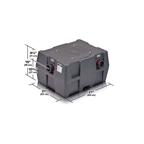Schier Great Basin™ GB-25 High Capacity Grease Interceptor, 75 lb, 25 gpm, 3 in Inlet x 3 in Outlet, Domestic