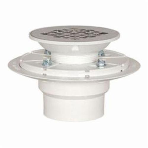 Tomahawk 821-2P Shower Pan Drain With Plastic Rim, 2 in, Hub, 4-3/8 in Grid, PVC Drain