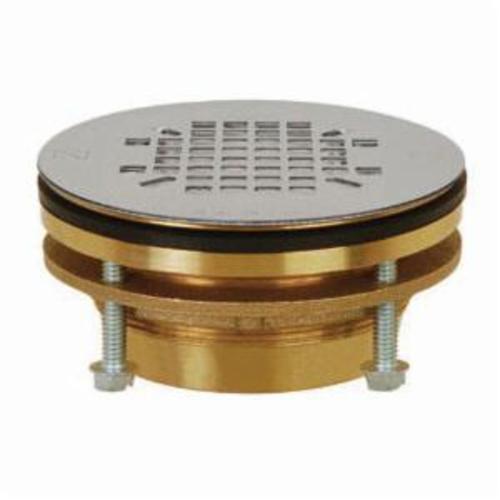 Sioux Chief JackRabbit™ 827-2J Shower Pan Drain, 2 in, No Caulk, 4-1/4 in Grid, Brass Drain