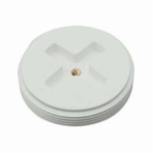 Tomahawk 878-40 Slotted Countersunk Cleanout Flush Plug With Insert, For Use With 842-9 Series Fitting Socket Ring, Polypropylene, White, Domestic