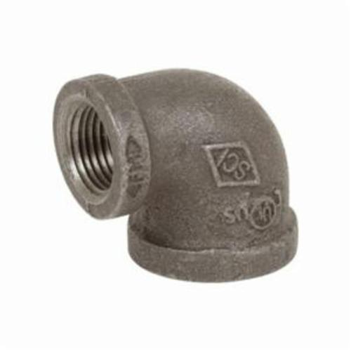 Smith-Cooper® 33RE1006004C 90 deg Reducing Pipe Elbow, 3/4 x 1/2 in, NPT, 150 lb, Malleable Iron, Black