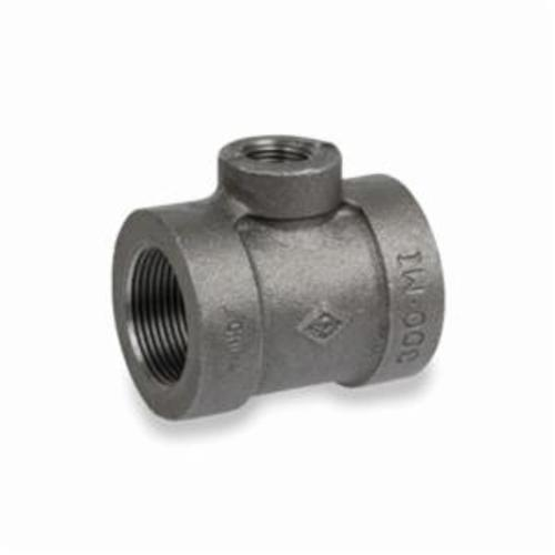 Smith-Cooper® 33RT3006004C Reducing Pipe Tee, 3/4 x 3/4 x 1/2 in, NPT, 300 lb, Malleable Iron, Black