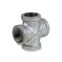 Smith-Cooper® 34X 1002C Pipe Cross, 1/4 in, NPT, 150 lb, Malleable Iron, Galvanized