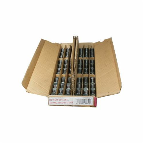 Smith-Cooper® 84NA4006C Nipple Assortment, 3/4 in Nominal, 66 Pieces, Welded Carbon Steel, Galvanized