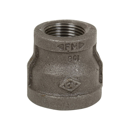 Smith-Cooper® 33RC1040010C Reducing Coupling, 4 x 1 in, Thread, 150 lb, Malleable Iron, Black