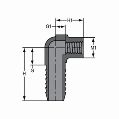 Spears® 1407-130 90 deg Reducing Pipe Elbow, 1 x 1/2 in, Insert x FNPT, PVC, Domestic
