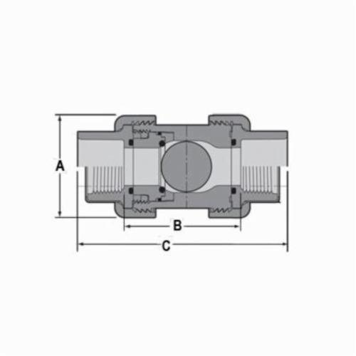 Spears® 4529-020 True Union 2000 Industrial Ball Check Valve, 2 in, Socket and FNPT, PVC Body, Domestic