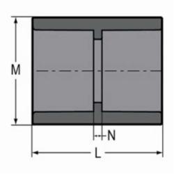 Spears® 829-012 Standard Pipe Coupling, 1-1/4 in, Socket, SCH 80/XH, PVC, Domestic