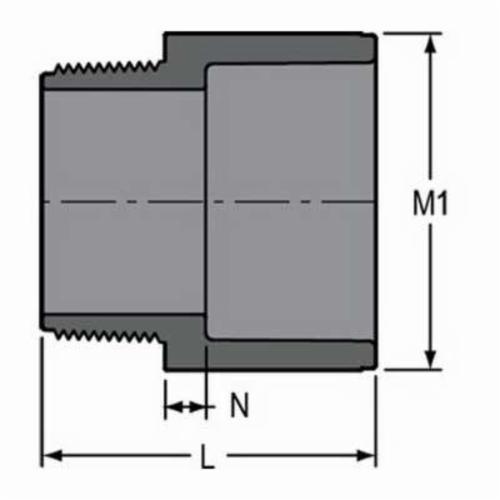 Spears® 836-020 Standard Pipe Adapter, 2 in, MNPT x Socket, SCH 80/XH, PVC, Domestic