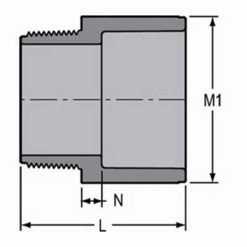 Spears® 836-020C Standard Pipe Adapter, 2 in, MNPT x Socket, SCH 80/XH, CPVC, Domestic
