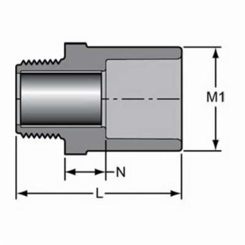 Spears® 836-005CR Standard Pipe Adapter, 1/2 in, R MNPT x Socket, SCH 80/XH, CPVC, Domestic