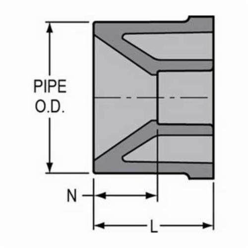 Spears® 837-250C Pipe Bushing, 2 x 1-1/4 in, Spigot x Socket (Flush Style), SCH 80/XH, CPVC, Domestic