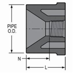 Spears® 838-250 Pipe Bushing, 2 x 1-1/4 in, Spigot x FNPT, SCH 80/XH, PVC, Domestic