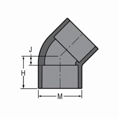 Spears® 817-005 Standard 45 deg Pipe Elbow, 1/2 in, Socket, SCH 80/XH, PVC, Domestic