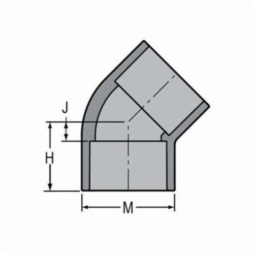 Spears® 817-060C Standard 45 deg Pipe Elbow, 6 in, Socket, SCH 80/XH, CPVC, Domestic