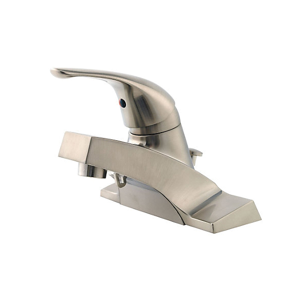 Pfister® LG142-600K Pfirst Series™ Professional Grade Centerset Lavatory Faucet, 1.2 gpm, 1-5/8 in H Spout, 4 in Center, Brushed Nickel, 1 Handle, Metal Pop-Up Drain