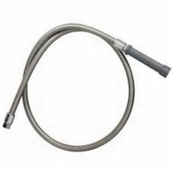 T & S B-0068-H Flexible Hose With Gray Handle, 3/4-14 UN Female Inlet/Outlet, 68 in Stainless Steel Spray Hose