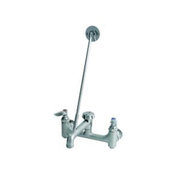T & S B-0665-BSTR Service Sink Faucet, 12.96 gpm, 8 in Center, Rough Chrome, 2 Handles, Wall Mount, Commercial