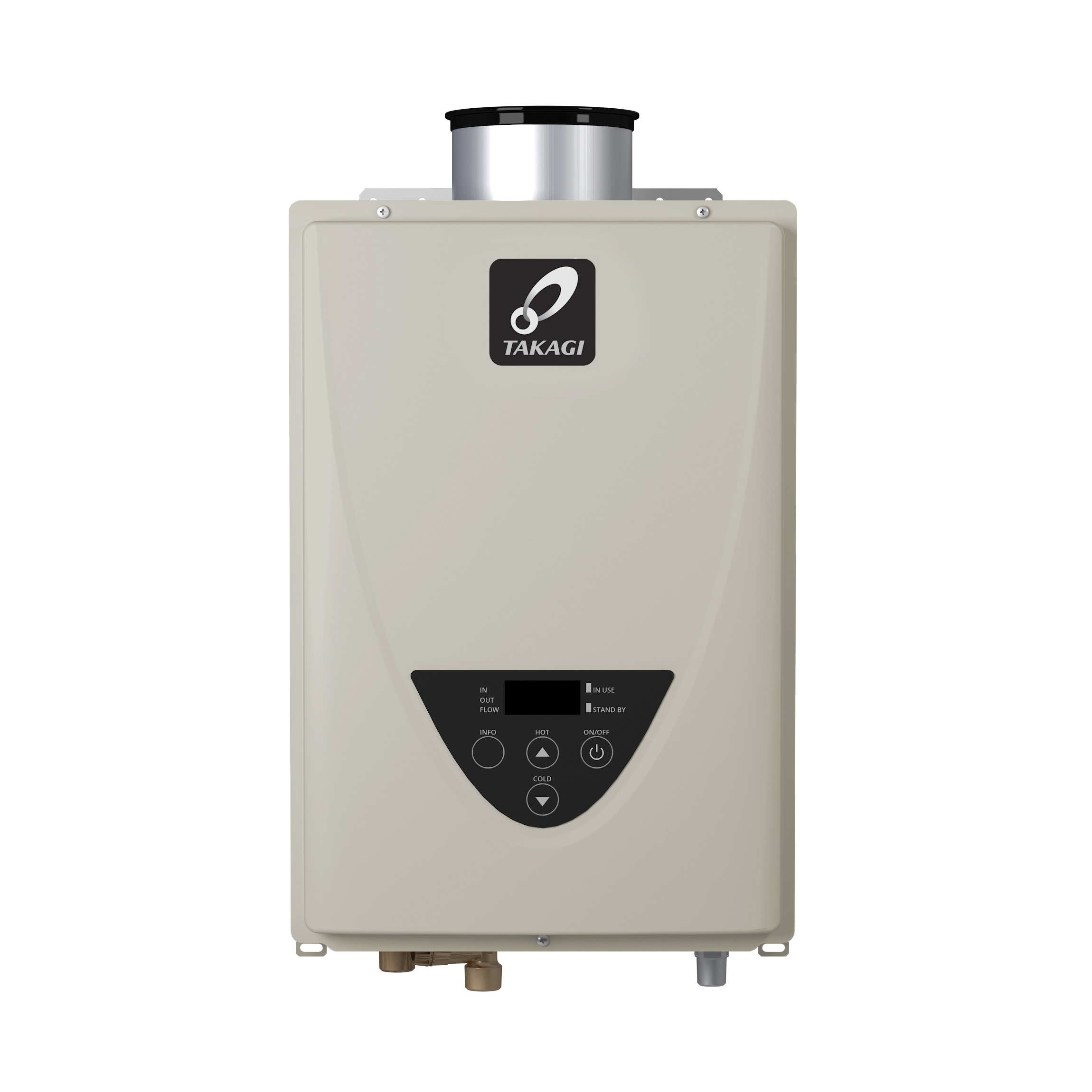 Takagi TK110CNING TK-110C Tankless Water Heater, Natural Gas Fuel, 140000 Btu/hr Heating, Indoor/Outdoor: Indoor, Condensing/Non Condensing: Non-Condensing, 6.6 gpm, 3 in, 5 in Concentric Vent, 0.81, Commercial/Residential/Dual: Residential