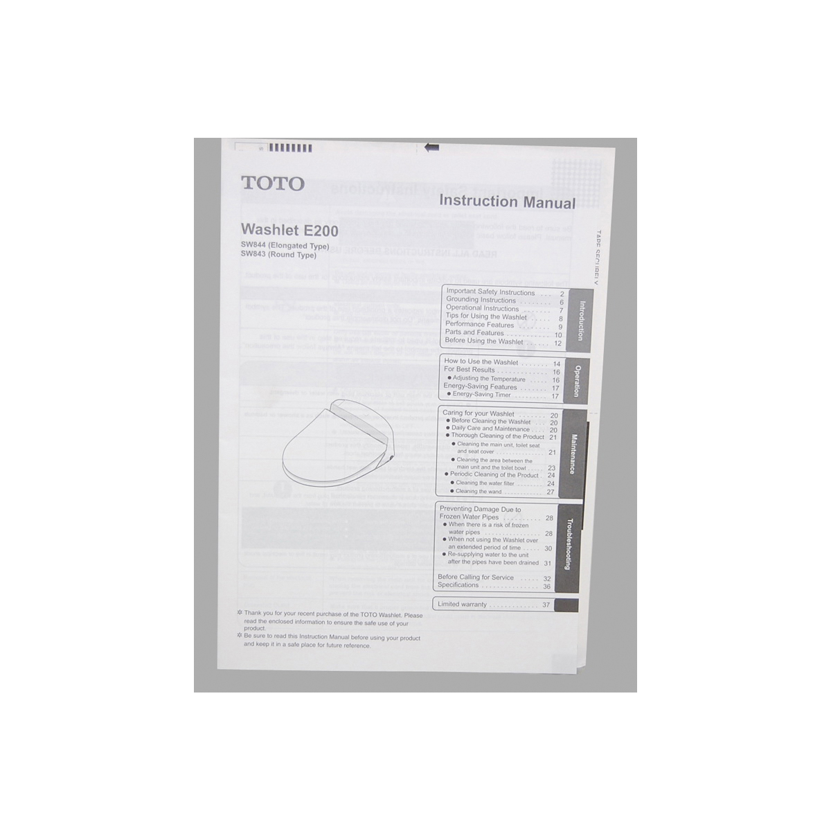 Consolidated Supply Co. | Toto® 0GU9051 Manual Packet, For Use With ...