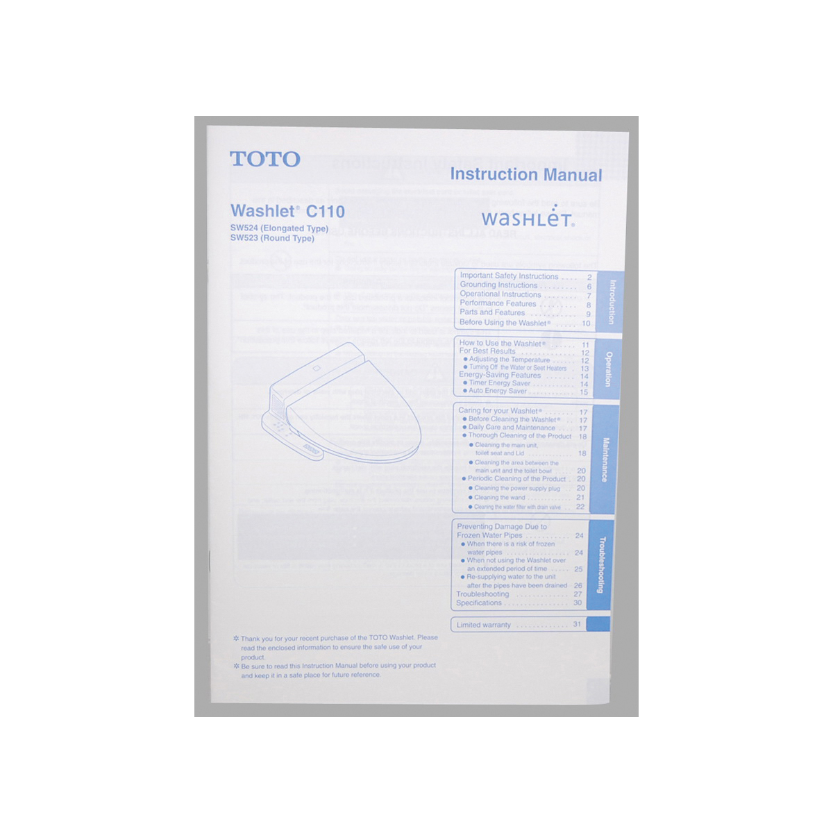 Toto® 0GU9201 Manual Packet, For Use With Washlet® C110 SW523 Round Toilet Seat/SW524 Elongated Toilet Seat