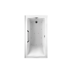Toto® ABR782L#01YCP3 Clayton™ Tile-In Right Blower Bathtub With Polished Chrome Grab Bar, Air Bath, Rectangular, 60 in L x 32 in W, Left Hand Drain, Cotton