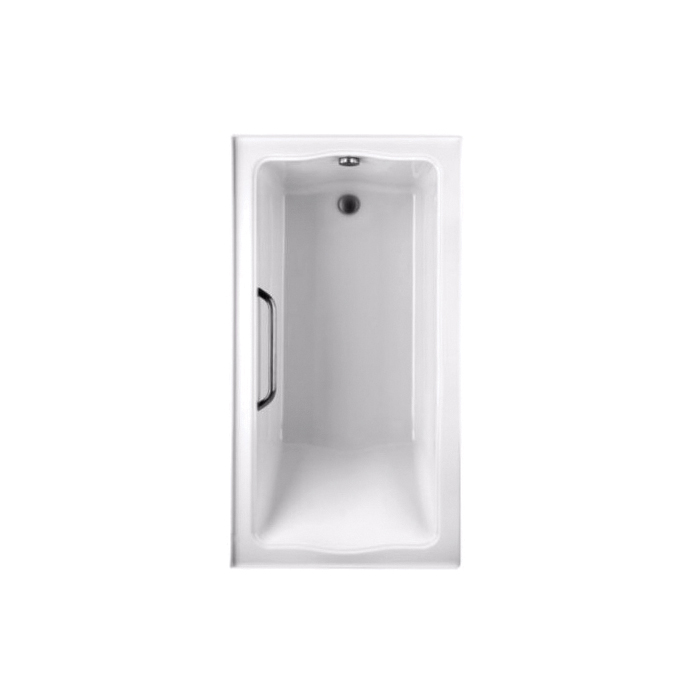 Toto® ABY782Q#01YPN Clayton™ Tile-In Bathtub With Polished Chrome Grab Bar, Soaking, Rectangular, 60 in L x 32 in W, Right Drain, Cotton