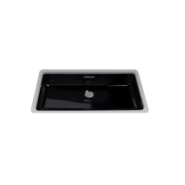 Toto® LT191#51 Lavatory Sink With Rear Overflow, Rectangular, 23-3/4 in W x 14-3/8 in D, Undercounter Mount, Vitreous China, Ebony, Import